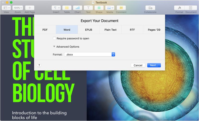 Pages export from Mac